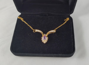 Amethyst & Crystal Goldtone Necklace stamped JC