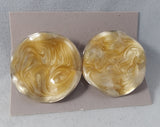 Avon Color Swirl Enamel Clip On Earrings Cream Gold