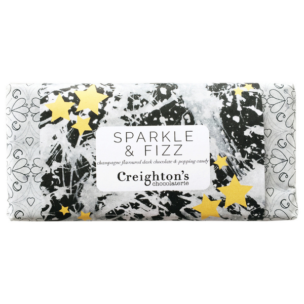 SPARKLE & FIZZ - CHAMPAGNE & POPPING CANDY CHOCOLATE BAR - 100g