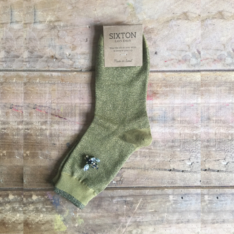OLIVE SPARKLE SOCKS - WITH BEE PIN