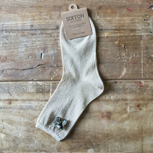 SAND/GOLD SPARKLE SOCKS - WITH BEE PIN