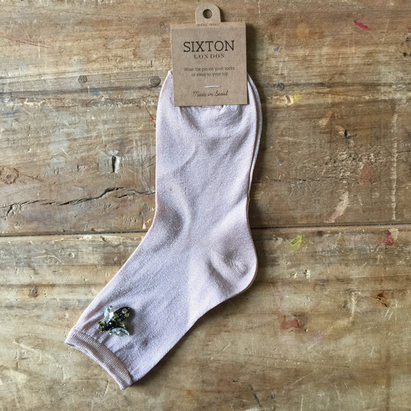 PINK SPARKLE SOCKS - WITH BEE PIN