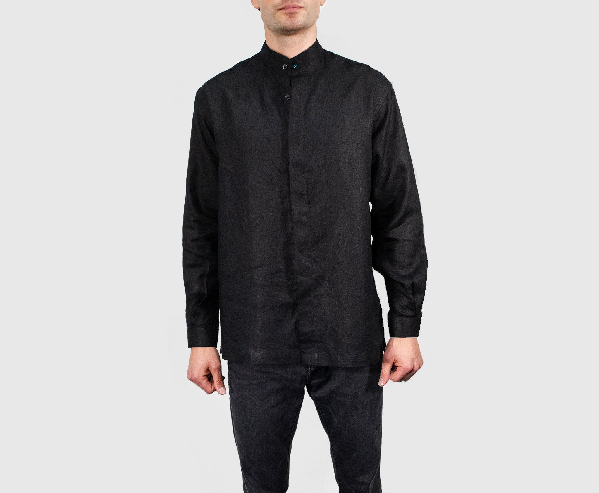 Ferdinand - Black Band Collar Shirt