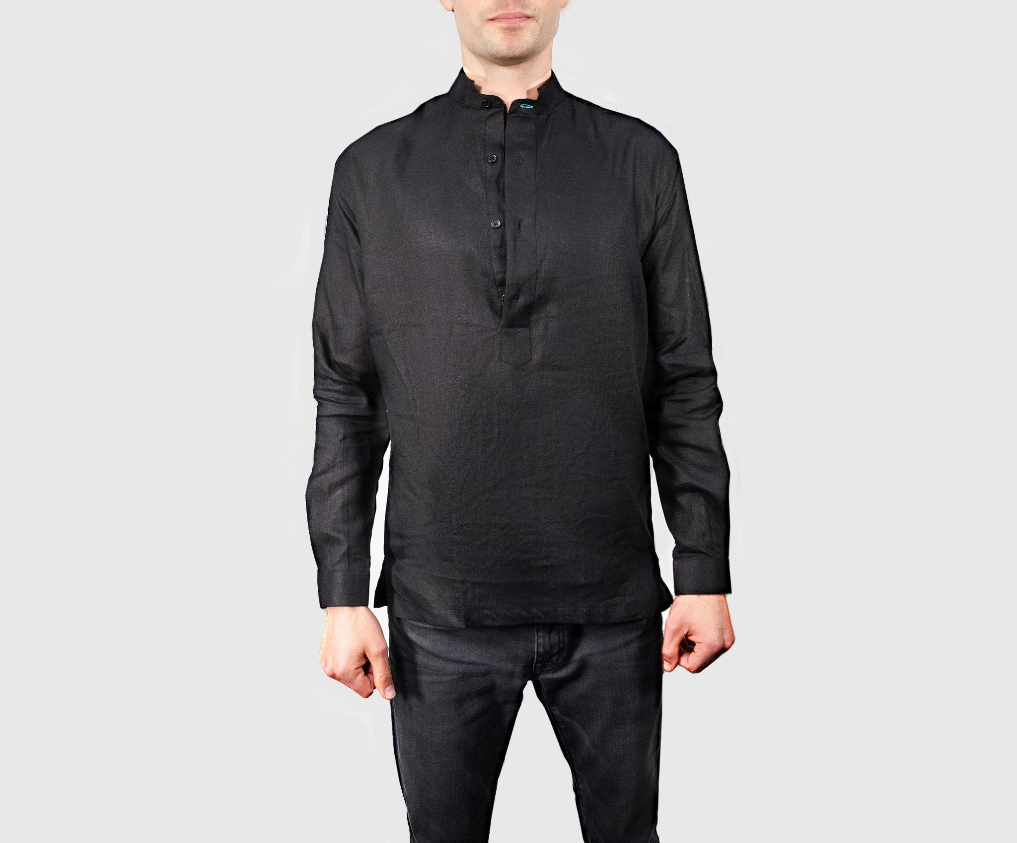 Pullover - Black Mandarin Collar Shirt