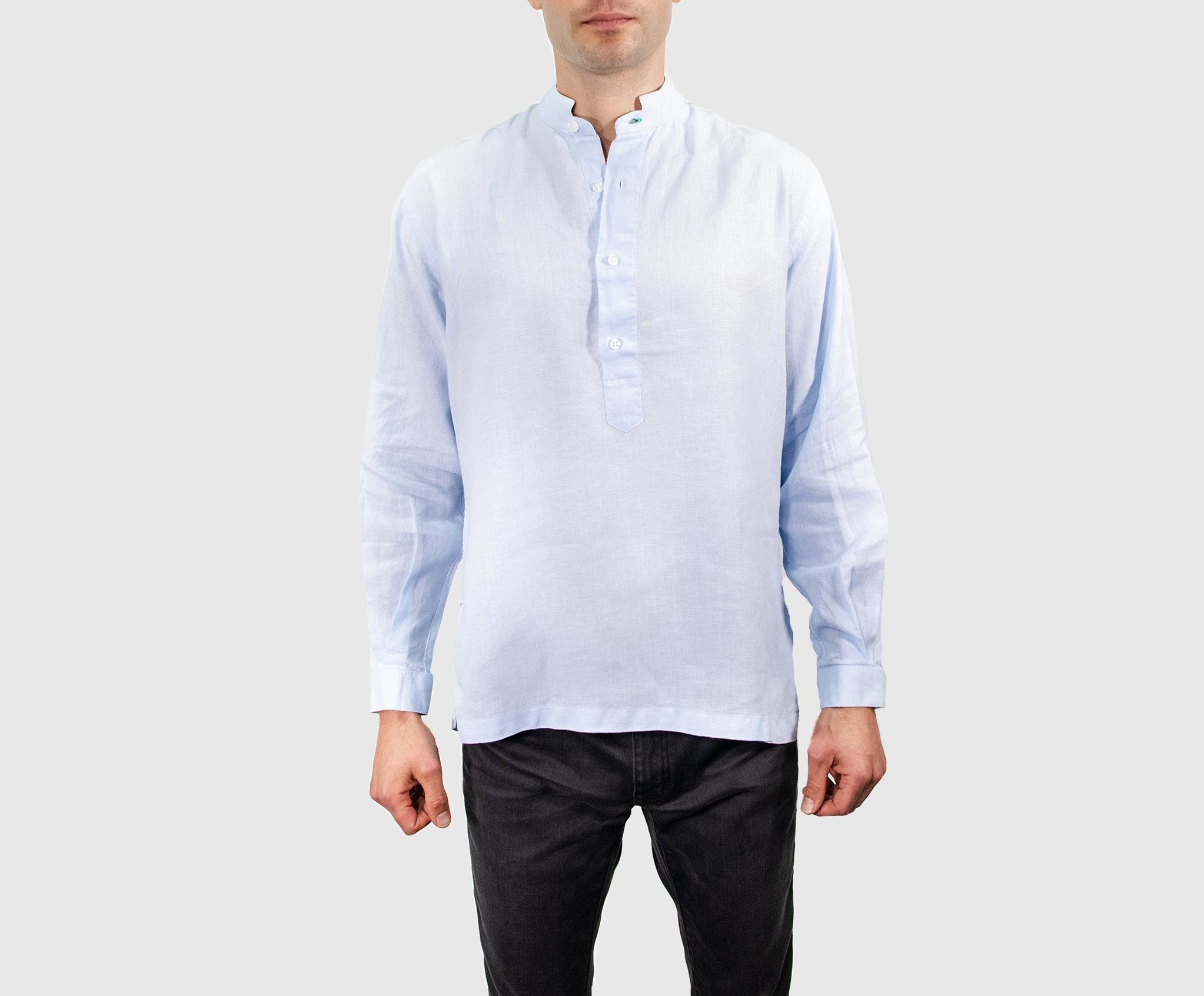 Pullover - Blue Mandarin Collar Shirt