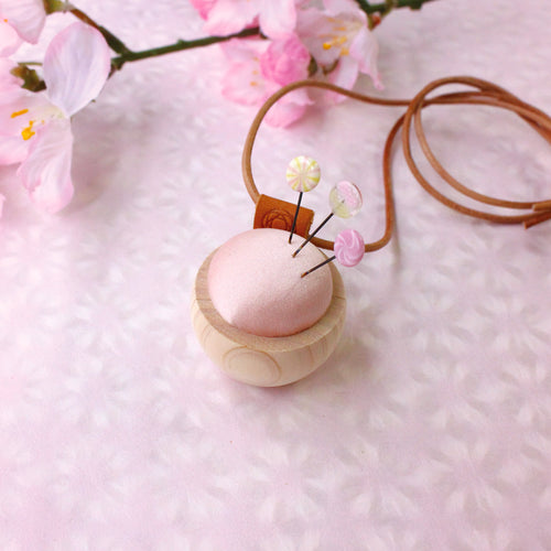 Ohajiki Sewing Pins and Cypress Pincushion Necklace (Sakura)