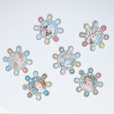 Glass Head Pin Rosettes--Three Girls