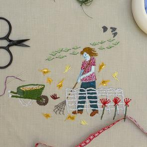 Raking Leaves Embroidery Panel