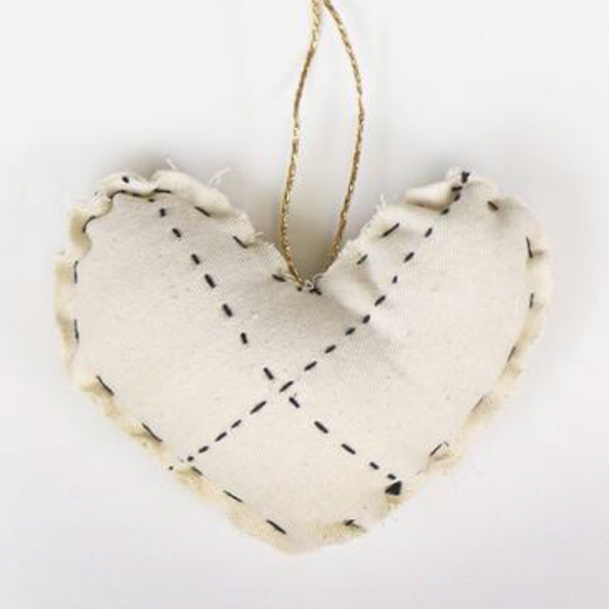 Hand-Stitched Heart Ornament