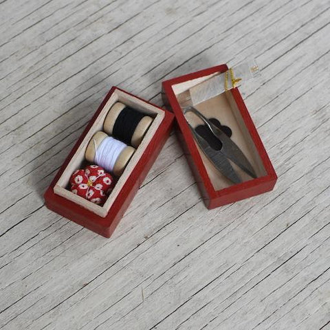 Set of Mini Scissors and Mini Masu Pin Cushion, Sakura