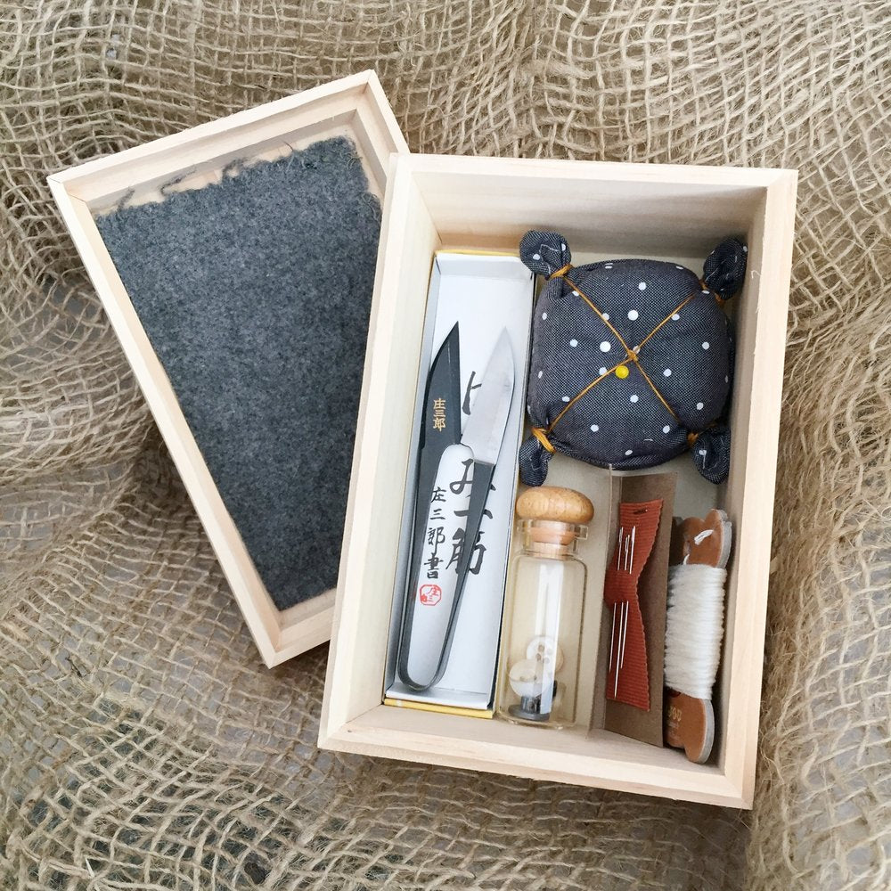 Sewing Kit in Wooden Box