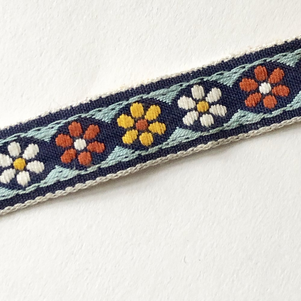 Woven Jacquard Vintage Ribbon - Blues