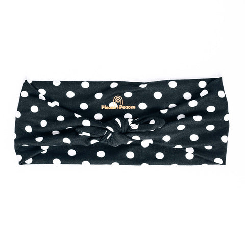BLACK + WHITE POLKA DOT PEACE HEADBAND