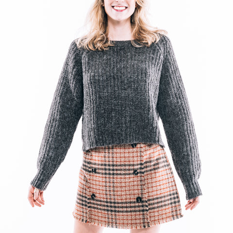 RUST PLAID SKIRT