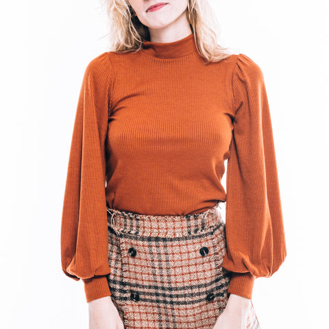 BALLOON SLEEVE RUST TOP