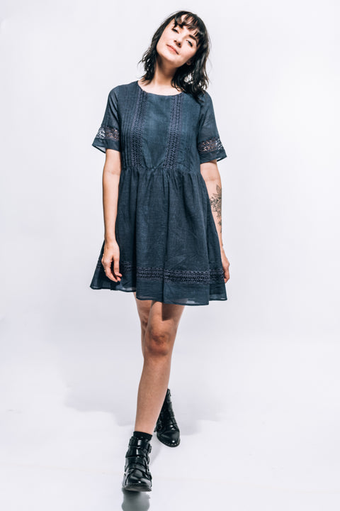 NAVY TUNIC EYELET DRESS
