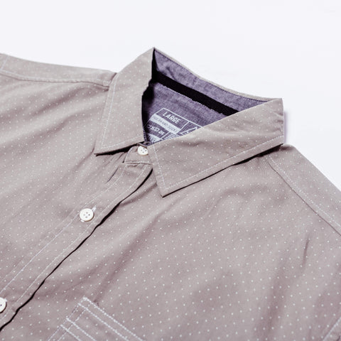 POPLIN BUTTON UP: GREY