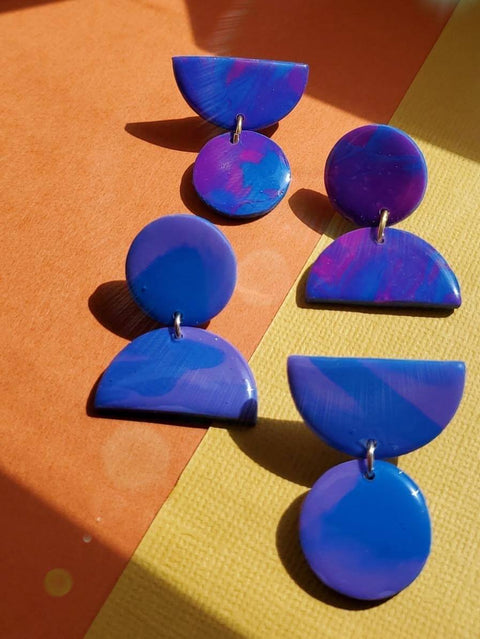 PURPLE GEO EARRINGS