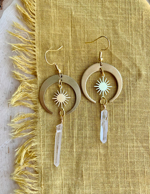 BURST QUARTZ EARRINGS