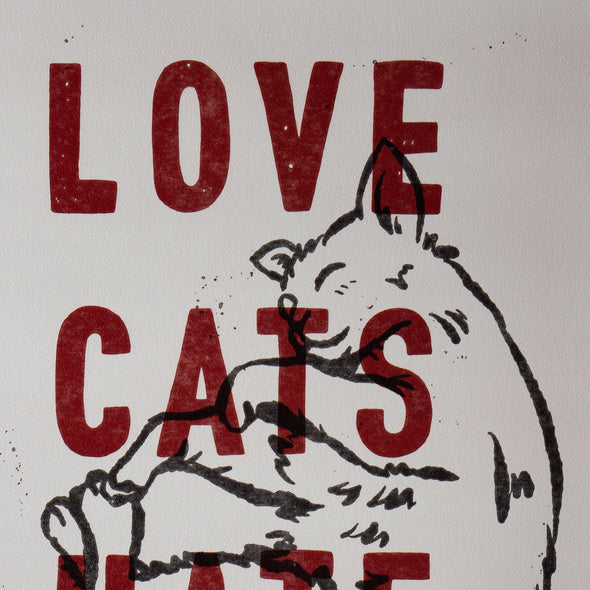Love Cats Hate Racism Print A3