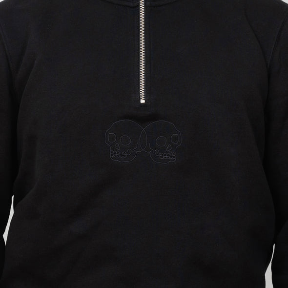 Embroidered Skulls Zip Sweatshirt