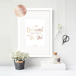 Believed She Could - R.S. Grey Foil Print