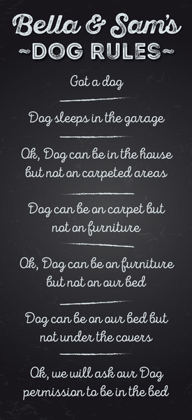 Bella & Sam's Dog Rules - chalkboard background