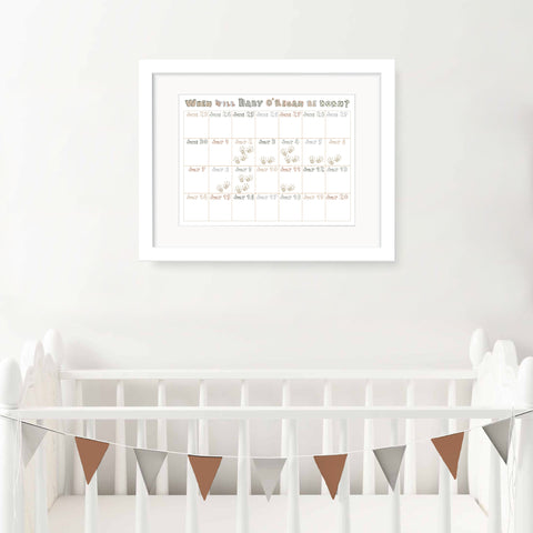 Personalised Baby Shower Calendar - Boy - Oregano Designs