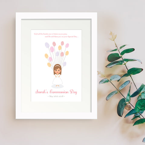 Personalised Print - Communion Fingerprint Gift - Oregano Designs