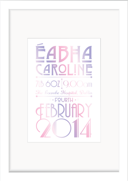 Personalised New Baby Print - Individual