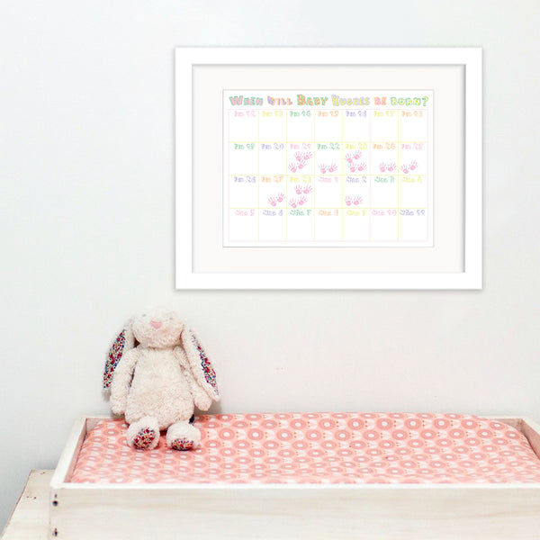 Personalised Baby Shower Calendar - Girl - Oregano Designs