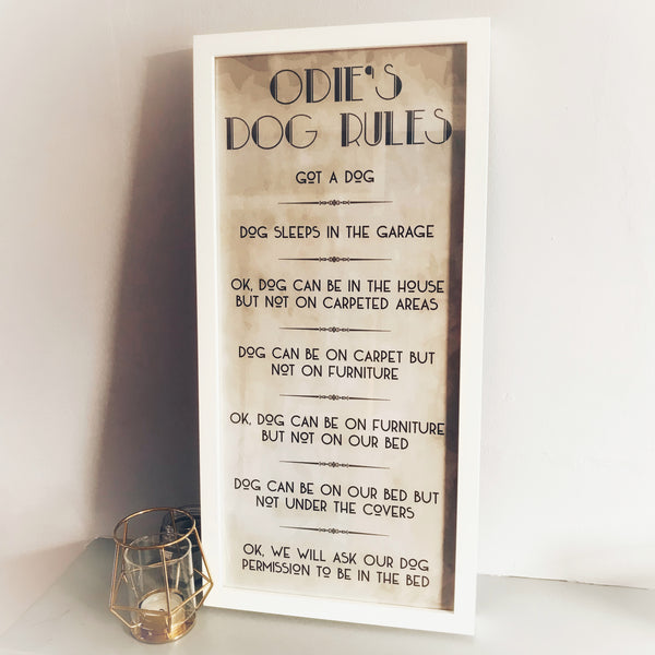 Odie's Dog Rules - White Frame