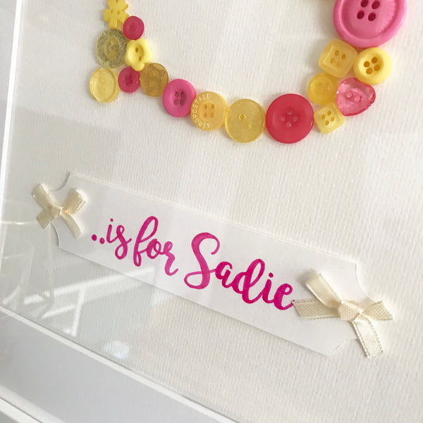 Baby Button Names - Single Initial Personalised Frame - Oregano Designs