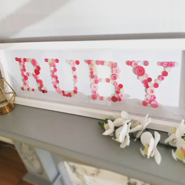Baby Button Names - All-in-One Personalised Frame - Oregano Designs