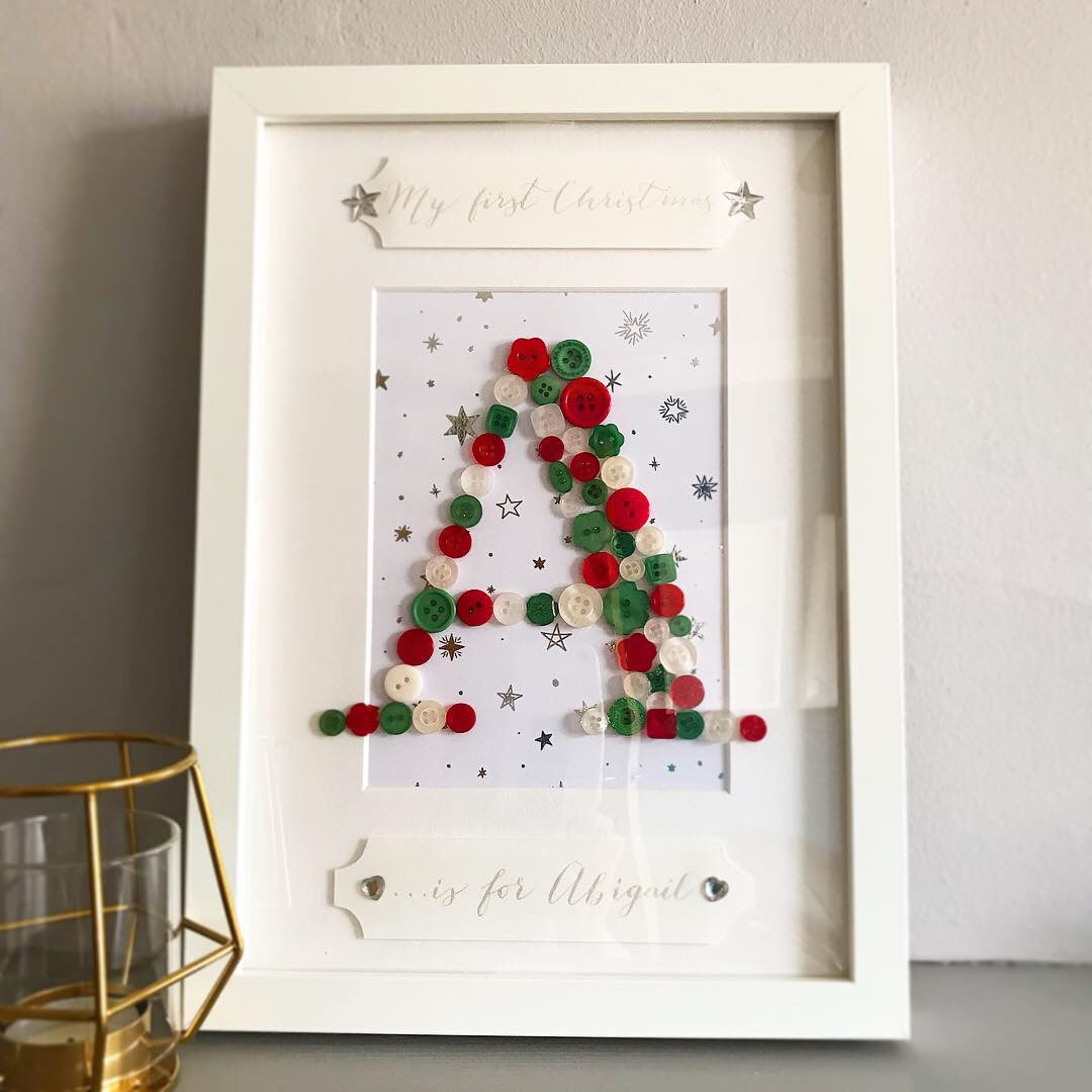 Baby Button Names - Baby's First Christmas Personalised Frame