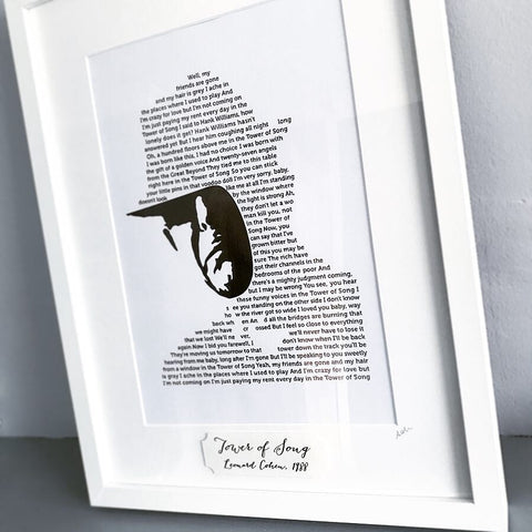 Leonard Cohen 'Tower of Song' Foil Lyric Personalised Print - Oregano Designs