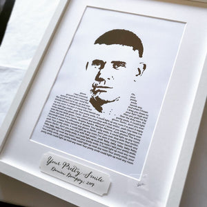 Damien Dempsey 'Your Pretty Smile' Lyric Foil Personalised Print - Oregano Designs