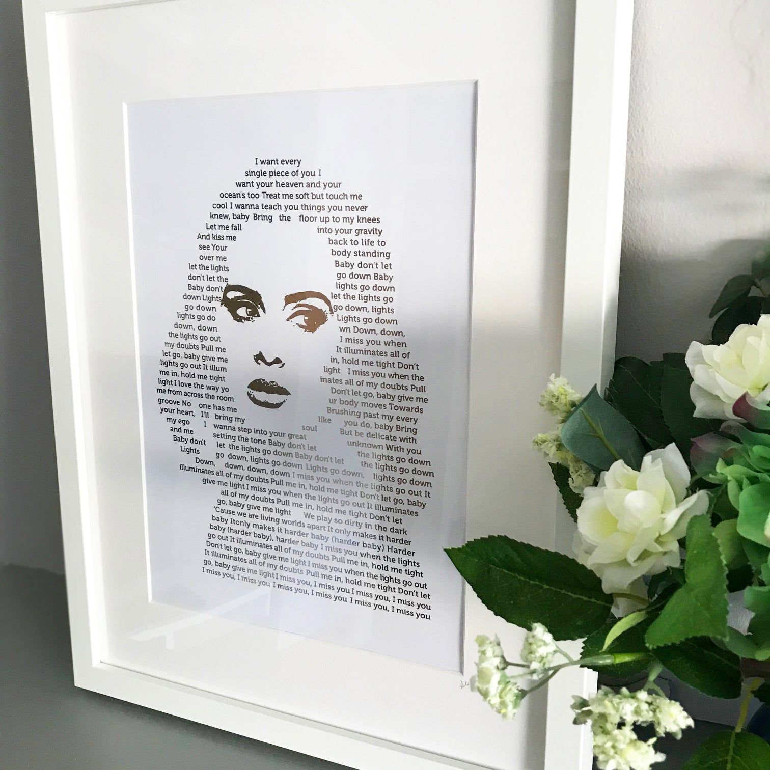 Adele 'I Miss You' Lyric Foil Personalised Print