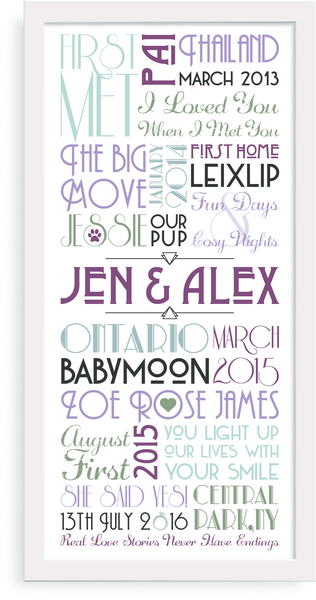 Personalised Print - Engagement Timeline - Oregano Designs