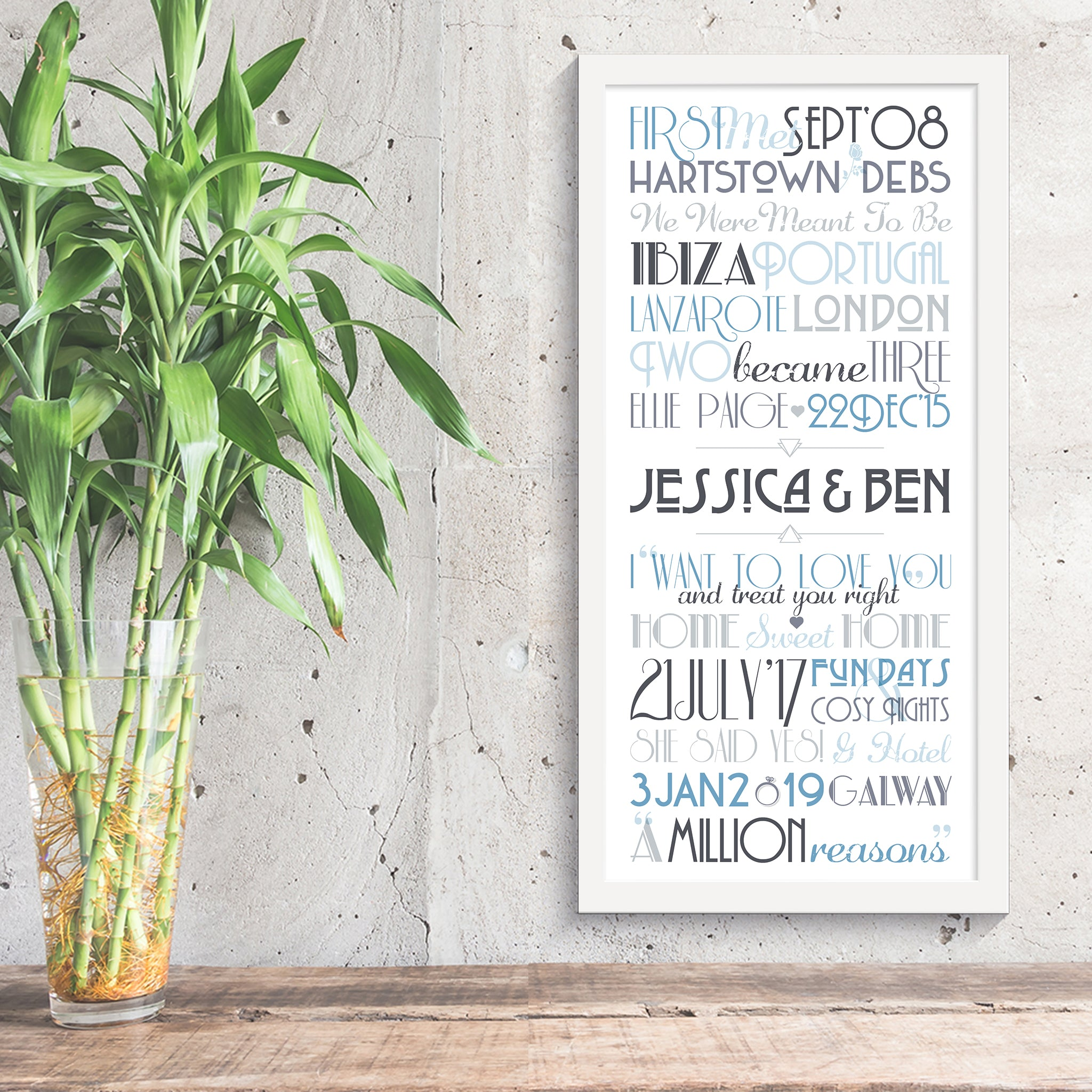 Personalised Print - Couples Timeline - Oregano Designs