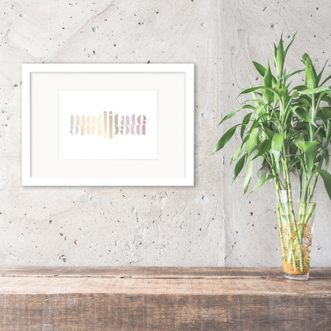 'Meditate' Reflection Foil Print - Oregano Designs