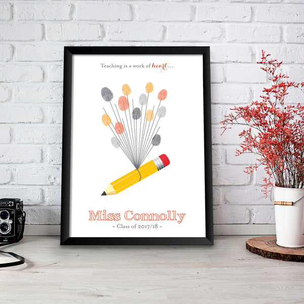 Personalised Print - Teacher Fingerprint Gift - Oregano Designs