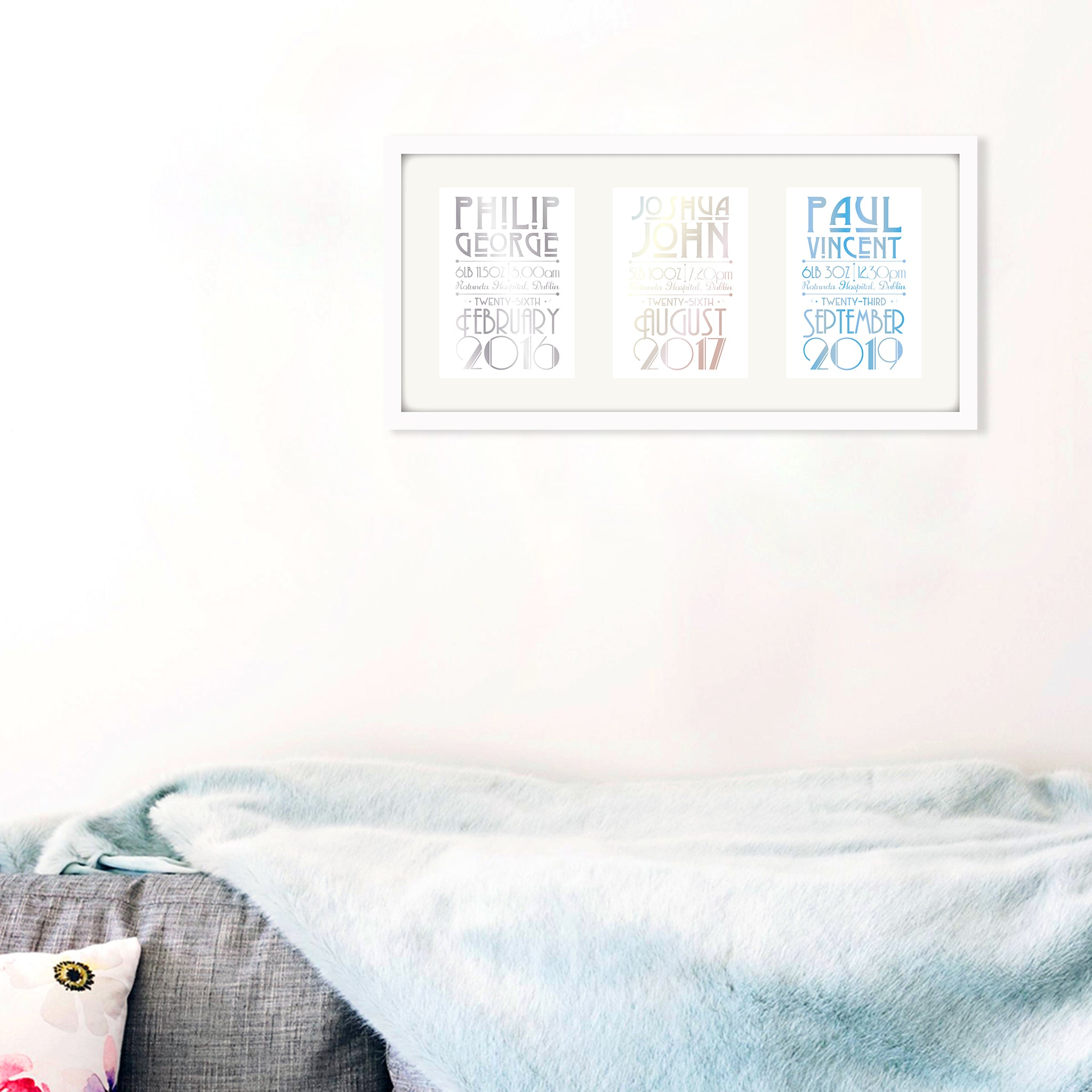 Personalised New Baby Print - Set of Three - Oregano Designs