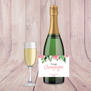 Blush Pink Floral Wedding Champagne Labels
