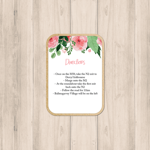 Blush Floral Wedding Details card