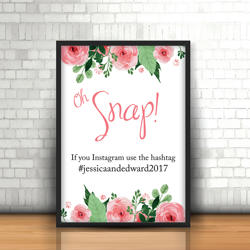 Blush Floral Oh Snap! Instagram Wedding sign