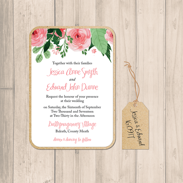 Blush Floral Wedding Main Invitation
