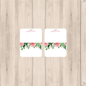 Blush Pink Floral Wedding Blank Place Cards