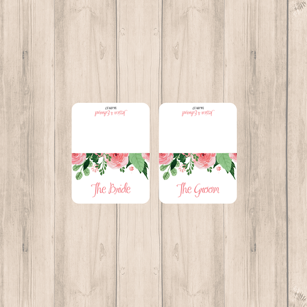Blush Pink Floral Wedding Personalised Place Cards