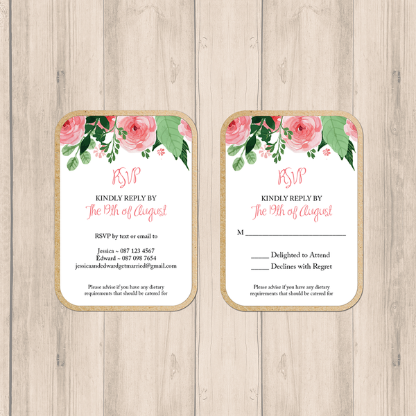 Blush Floral Wedding RSVP